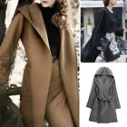 Womens Autumn Trench Cape Long Hooded Casual Outwear Coat Cardian Casual Jacket
