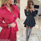New Fashion Womens Party Dress Wave Point Ladies One-piece Pleated Shirt Dresses