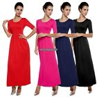 Fashion polyester lady women casual half medium sleeve Maxi long full dress
