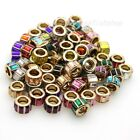 Czech Crystal Glass Columned Rondelle Gold Big Hole Spacer European Charm Beads