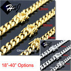 "18-40""MEN Stainless Steel 7/10/12mm Gold/Silver Miami Cuban Curb Chain Necklace"
