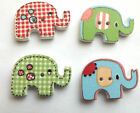 Wooden Elephant Buttons Bright Colours sewing knitting card making 5/10/20/30/50