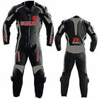 Suzuki Black New Motorbike Racing Leather Suit Racing Motorcycle Cowhide Suit