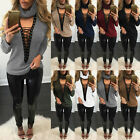 Women Ladies Tie Lace Up V Neck Ribbed Stretched Knitted Long Sleeve Jumper Tops