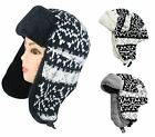 Adult Faux Fur Knitted Trapper Hat Peruvian Style Warm Russian Cap Unisex Winter