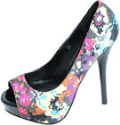 Vintage FLOWER Blüten STILETTO Heels Pumps Rockabilly EMO S-7088-s