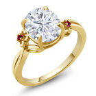 2.75 Ct Oval White Created Moissanite Red Created Ruby 18K Yellow Gold Ring