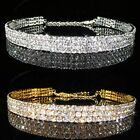 3, 4, 5 Rows Simulated Diamond Silver / Gold Choker Necklace Xmas Party BN062