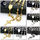 MEN Stainless Steel 3.5/6/8mm Silver/Black/Gold Bead Virgin Mary Rosary Necklace