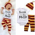 Cute 3PCS Newborn Baby Top Rompers Pants Hat Striped Outfits Set Clothes Casual