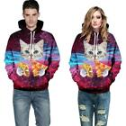 3d Galaxy Tacos Pizza Cat Kitten Graphic Print Hoodie Hooded Pullover Jumper