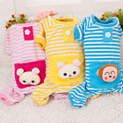 Pet Puppy Dog Stripes pajamas Coat Clothes Clothing Winter Warm Outfit Pink
