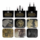 HBO GAME OF THRONES VARIOUS ART BLACK UK CHARGER & MICRO-USB CABLE FOR SAMSUNG 1