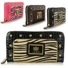 Ladies Larg LYDC Croc Fur Animal Print Diamante Zip Hand Purse Wallet Clutch Bag
