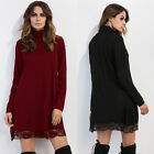 New Women's Lace Long Sleeve High Neck Ladies Formal Evening Party Short Dresses