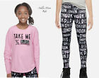NWT JUSTICE Girls 12 Pink Pars NY London Match and Patch Tee & Leggings Outfit