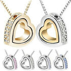 Fashion Women's Pendant Jewelry Crystal Heart 925 Sterling Silver Necklace+Chain