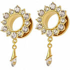 PAIR-GOLD PLATED STAINLESS STEEL FLOWER WITH CZ GEMS DANGLE EAR PLUGS-Ear Gauges