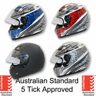 NEW FULL FACE Modular Flip Up Front Helmet Suit Road Bike Motorcycle AS/NZS1698