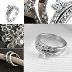 Unique Women Rhinestone Double Finger Ring Wedding Bridal Ring Jewelry Nice Gift