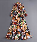 2017 spring occident new stylish long sleeve printing long dress Gorgeous Clear