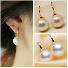 HOT GIRLS FASHION OUTH SEA WHITE SHELL PEARL SOLID GOLD HOOK EARRINGS NEW HOT