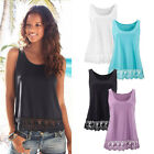Fashion Womens Summer Vest Sleeveless Lace Girls Blouse Casual Tank Tops Shirt