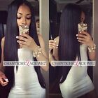 Women's Indian Remy Human Hair Lace Front/Full Wigs Silky Straight Black Wig UK