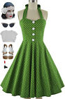 50s Style Miss Mabel AVOCADO Lime POLKADOT Print Pinup HALTER SunDress w/BUTTONS