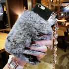 Luxury Strap Tassels Fuzzy Furry Rabbit Fur Case Cover for iPhone 6/6S/7 Plus