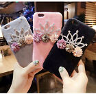 Luxury Cute Flowers Bling Diamond Crown Fuzzy Case Cover for iPhone 6 6S 7 Plus