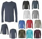 MEN'S CREWNECK T-SHIRT, TRI BLEND, LONG SLEEVE, LIGHTWEIGHT, S M L XL 2XL