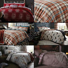 COTTON RICH POLYCOTTON STAG OWL TARTAN CHECK QUILT DUVET COVER SET GREY RED