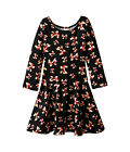 FiveLoaves TwoFish Judy In Bows Girls Long Sleeve Jersey Black Print Dress