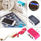 Thriple USB Ports Data Cable AC Adapter Power Cord fr Iphone Samsung Cell phones