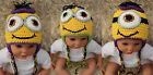 Cute Handmade Minions Hat Knit Crochet Hat Baby Hat Cap Photo Prop 0-4 Year New