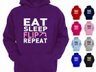 EAT SLEEP FLIP REPEAT GYMNASTICS DESIGNER GIRLS HOODY HOODIE KIDS CHILDRENS