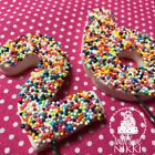 RAINBOW SPRINKLES 3D NUMBER Wired 6.5cm LARGE edible icing fondant cake topper