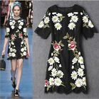 2016 black Embroidery party runway fashion free shipping dress stunning graceful