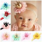 2017 Baby Girl Crown Headband Princess Crown Hair band Pearl Tiara Lace Headwear