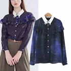 Starry Sky Constellation Star Embroidery Collar Ruffled Shirt Blouse Women Top