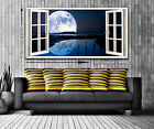 3D Super Moon Window View Panoramic Trendy Canvas Print - 2 Sizes Ready to Hang