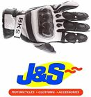 BKS FURY SHORT LEATHER MOTORCYCLE GLOVES MOTORBIKE GLOVE RACE BLACK WHITE J&S