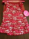 Dog Dress Size XS Red With White And Pink Glitter Print XOX