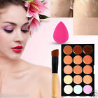 15 Color Makeup Contour Palette & Sponge Puff Face Concealer Cream Powder Brush@