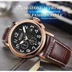 Megir Men Genuine Leather Military Sports Chronograph Luminous Quartz Watch Y9h3
