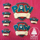 PAW PATROL LOGO SHEILD - Large Medium small edible icing cupcake cake toppers