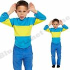 CHILDRENS KIDS BOYS STRIPED BLUE YELLOW JUMPER FANCY DRESS BOOK WEEK DAY COSTUME