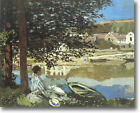 HUGE Monet On Bank of Seine Bennecourt Stretched Canvas Giclee  Repro ALL SIZES