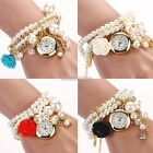 Women Charm Rose Flower Faux Pearl Round Dial Quartz Bracelet Wrist Watch N98B